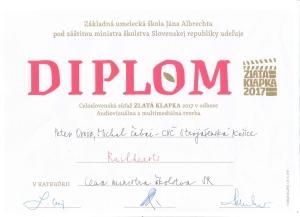 Zlatá klapka 2017 - Diplom pre víťaza